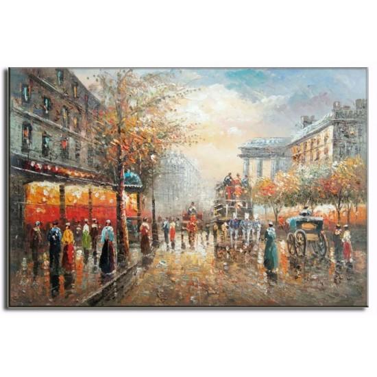 Tranh sơn dầu hiện đại Phố Paris