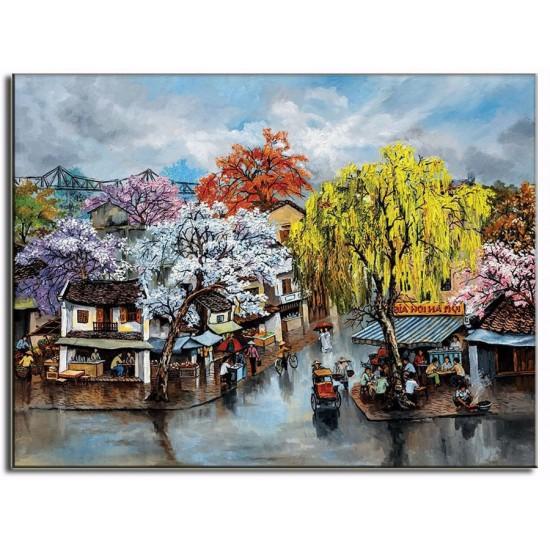 Tranh Sơn Dầu Vẽ Phố Cổ Hà Nội PCHN01