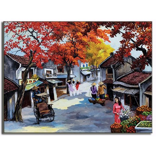 Tranh Sơn Dầu Vẽ Phố Cổ Hà Nội PCHN05