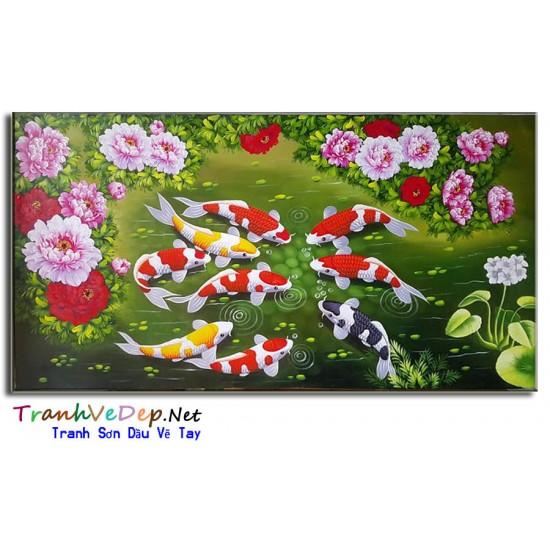 Tranh Sơn Dầu Cá Chép Hoa Mẫu Đơn