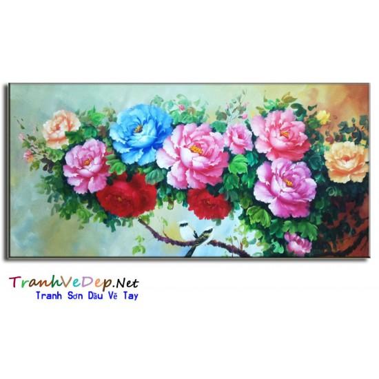 Tranh Vẽ Hoa Mẫu Đơn HMD01