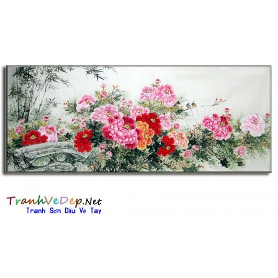 Tranh Sơn Dầu Hoa Mẫu Đơn HMD14