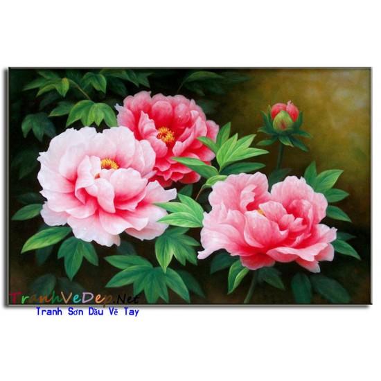 Tranh Vẽ Hoa Mẫu Đơn HMD02
