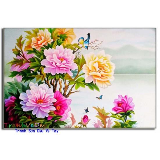 Tranh Vẽ Hoa Mẫu Đơn HMD03