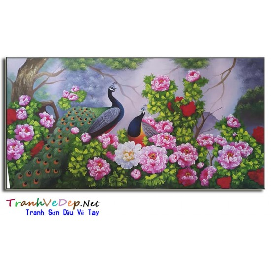 Tranh Vẽ Hoa Mẫu Đơn HMD05