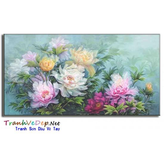 Tranh Vẽ Hoa Mẫu Đơn HMD06