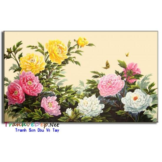 Tranh Vẽ Hoa Mẫu Đơn HMD07