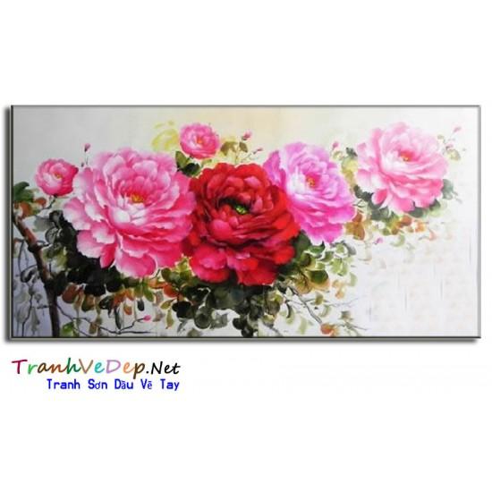 Tranh Vẽ Hoa Mẫu Đơn HMD08