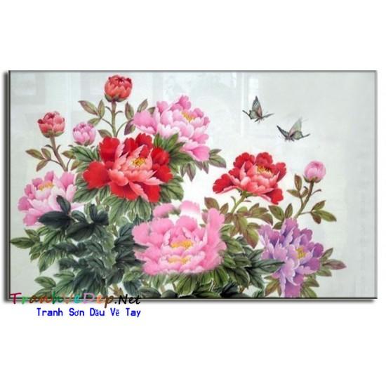 Tranh Vẽ Hoa Mẫu Đơn HMD09