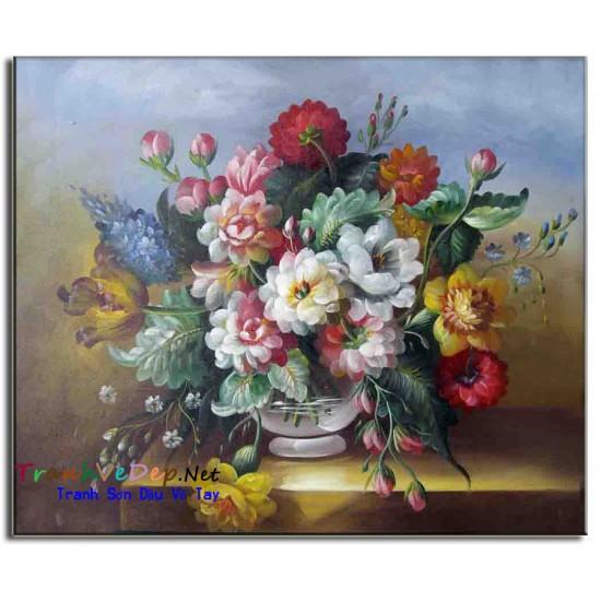 Tranh Tĩnh Vật Vẽ Hoa Đẹp TVH010