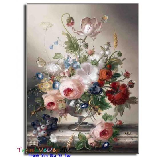 Tranh Tĩnh Vật Vẽ Hoa Đẹp TVH004