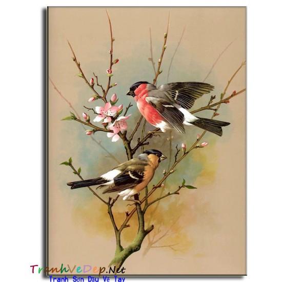 Tranh sơn dầu Vẽ Đôi Chim Uyên Ương N04