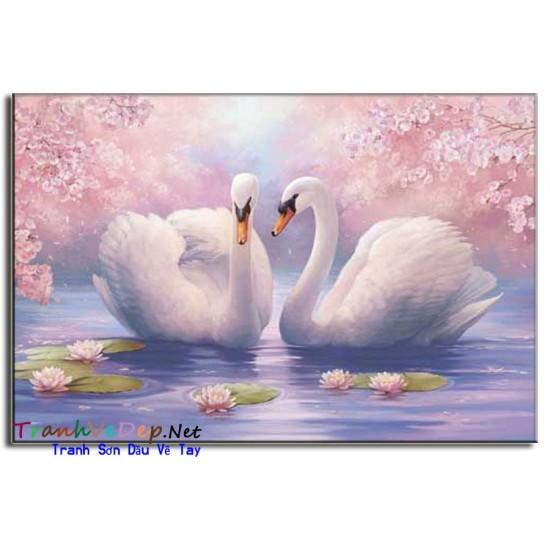 Tranh sơn dầu Vẽ Thiên Nga N02