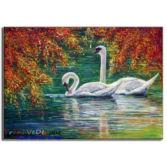 Tranh sơn dầu Vẽ Thiên Nga N03