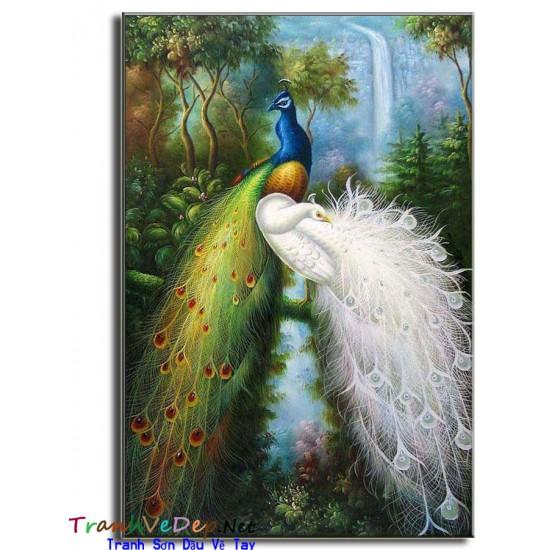 Tranh sơn dầu Vẽ Chim Công C02