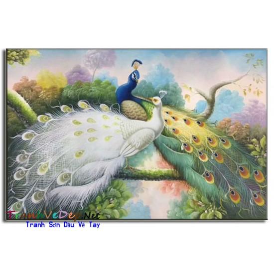 Tranh sơn dầu Vẽ Chim Công C03