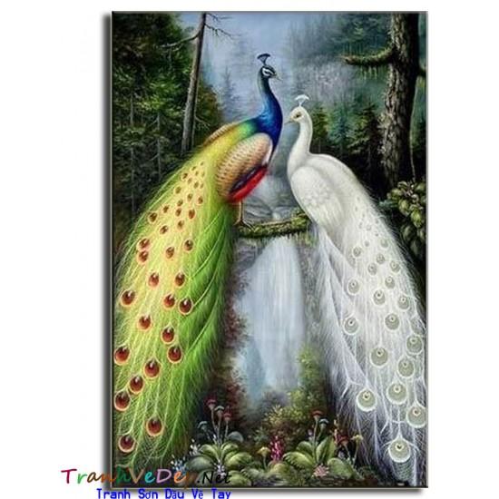 Tranh sơn dầu Vẽ Chim Công C05