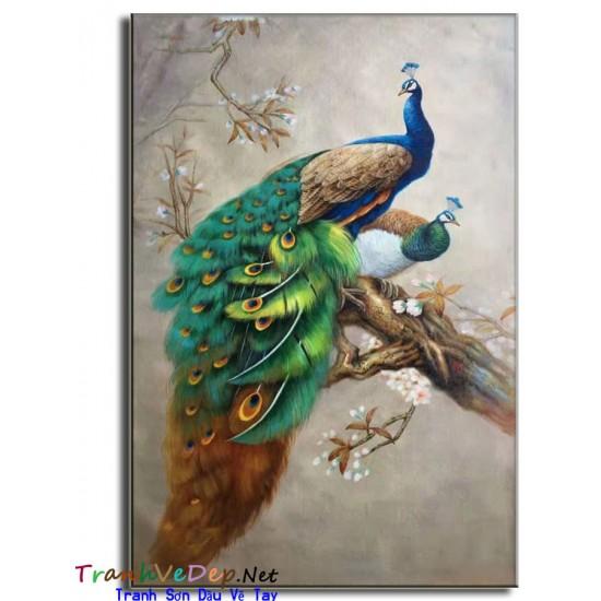 Tranh sơn dầu Vẽ Chim Công C07