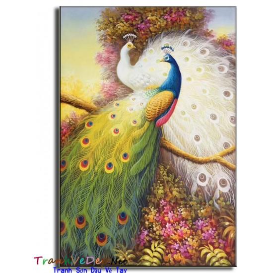 Tranh sơn dầu Vẽ Chim Công C08