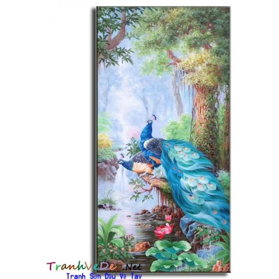 Tranh sơn dầu Vẽ Chim Công C09