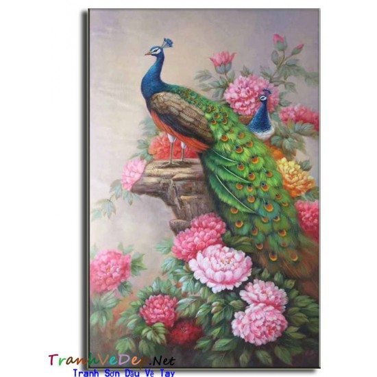 Tranh sơn dầu Vẽ Chim Công C11