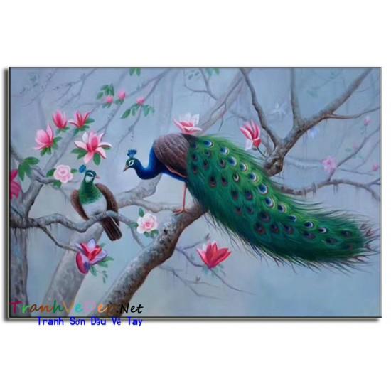 Tranh sơn dầu Vẽ Chim Công C13