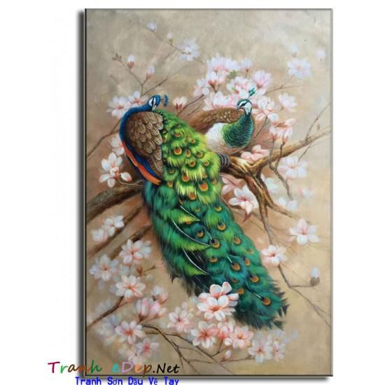 Tranh sơn dầu Vẽ Chim Công C15
