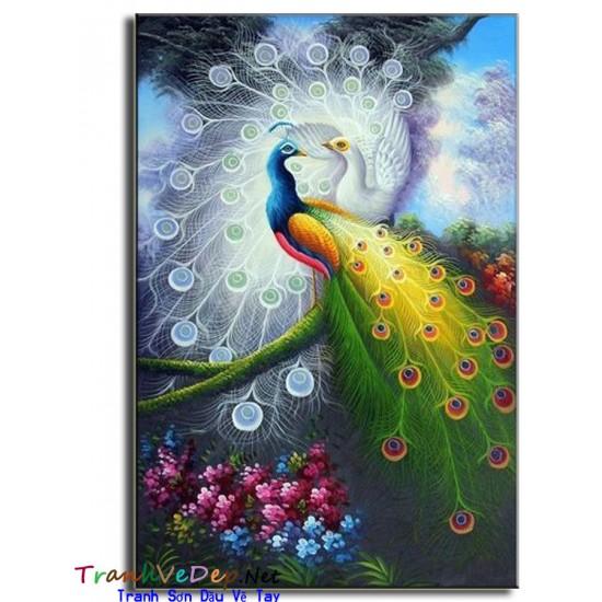Tranh sơn dầu Vẽ Chim Công C16
