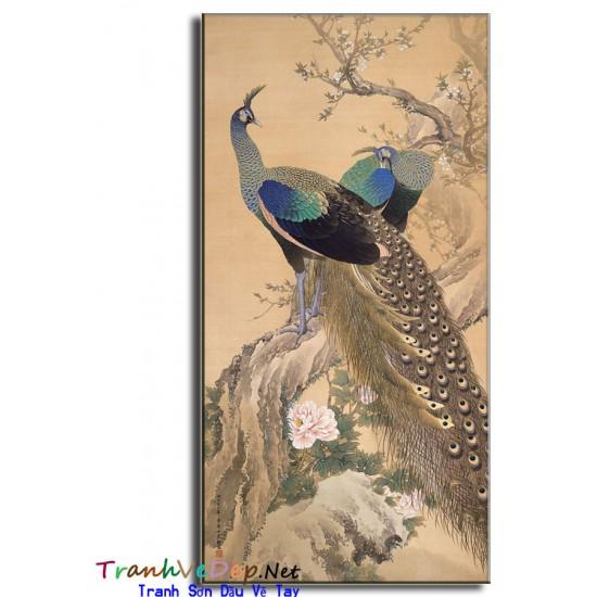 Tranh sơn dầu Vẽ Chim Công C17