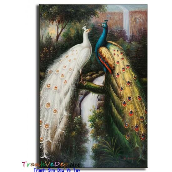 Tranh sơn dầu Vẽ Chim Công C18