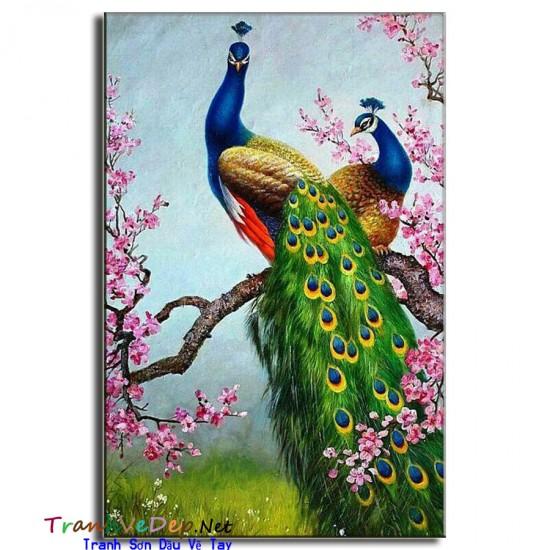 Tranh sơn dầu Vẽ Chim Công C20
