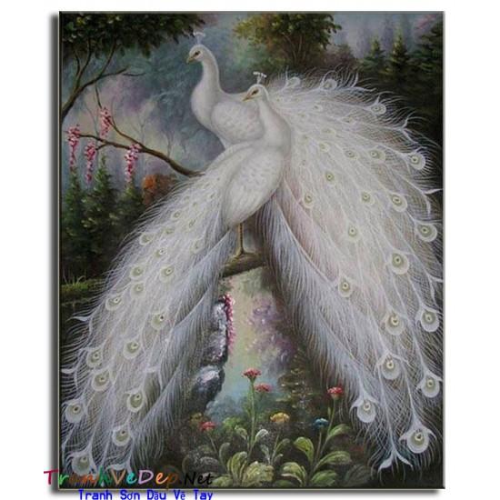 Tranh sơn dầu Vẽ Chim Công C21