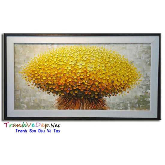Tranh sơn dầu hiện đại bó hoa vàng HD002