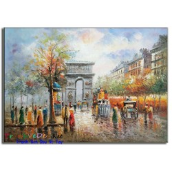 Tranh sơn dầu hiện đại Phố Paris PR013