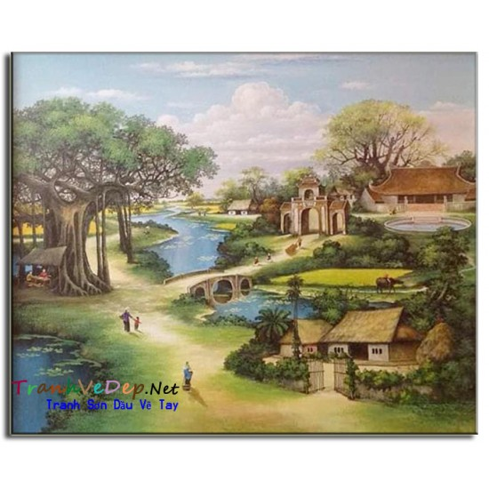 Phong Cảnh Làng quê Việt Nam Cây Đa Giếng Nước Sân Đình V01