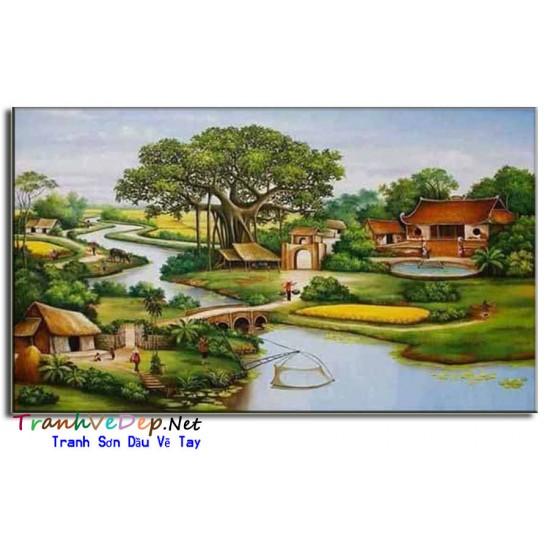 Tranh Sơn Dầu Cây Đa Giếng Nước Sân Đình V02