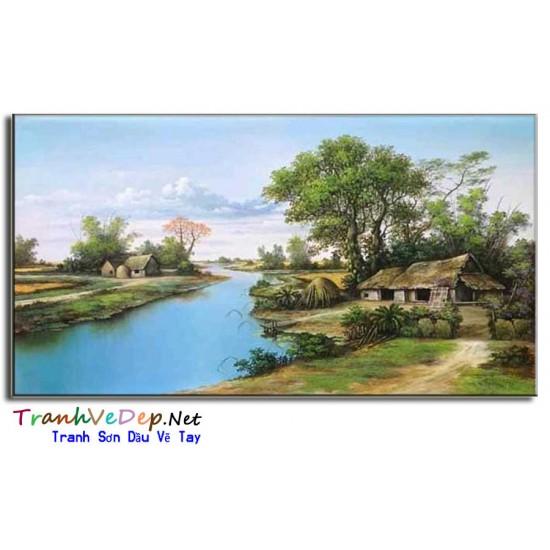 Tranh Làng quê Việt Nam Cây Đa Giếng Nước Sân Đình V04