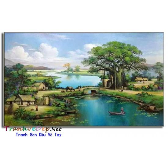 Tranh Phong Cảnh Làng quê Việt Nam Cây Đa Giếng Nước Sân Đình V05