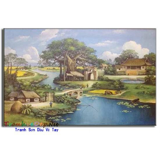 Tranh Phong Cảnh Làng quê Việt Nam Cây Đa Giếng Nước Sân Đình V06