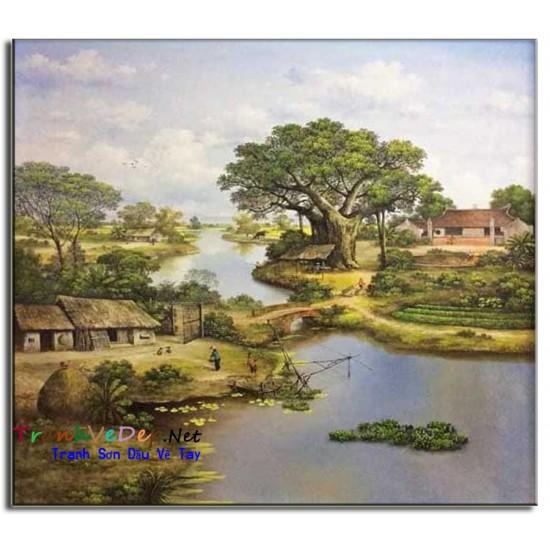 Tranh Sơn Dầu Phong Cảnh Làng quê Yên Bình B01