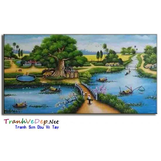Tranh Sơn Dầu Phong Cảnh Làng quê Yên Bình B03
