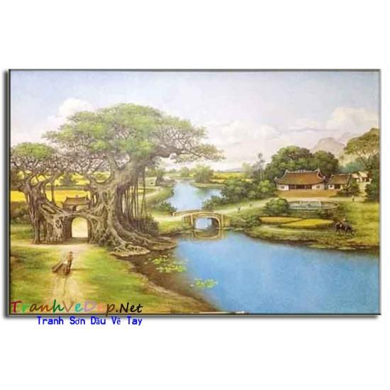 Tranh Sơn Dầu Phong Cảnh Làng quê Yên Bình B05