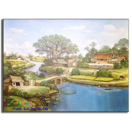Tranh Sơn Dầu Phong Cảnh Làng quê Yên Bình B07