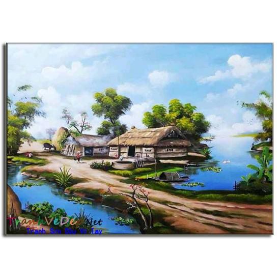 Tranh Sơn Dầu Phong Cảnh Làng quê Yên Bình B08