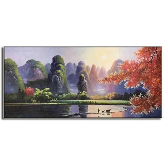 Tranh Sơn Dầu Vẽ Cảnh Thiên Nhiên Đẹp C26