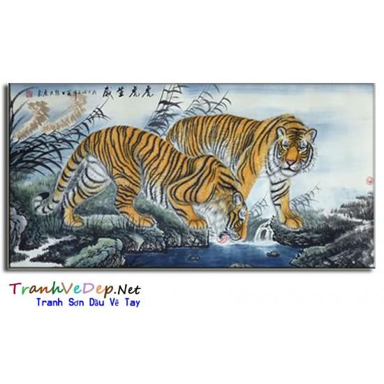 Tranh Sơn Dầu Vẽ Hổ H16