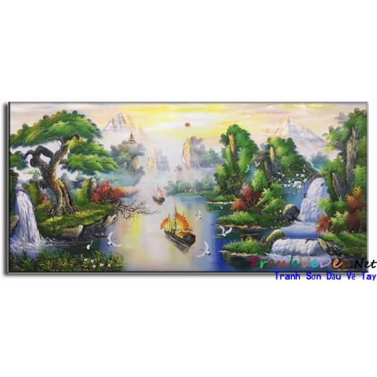 Tranh Sơn Dầu Vẽ Tùng Hạc Nghênh Khách